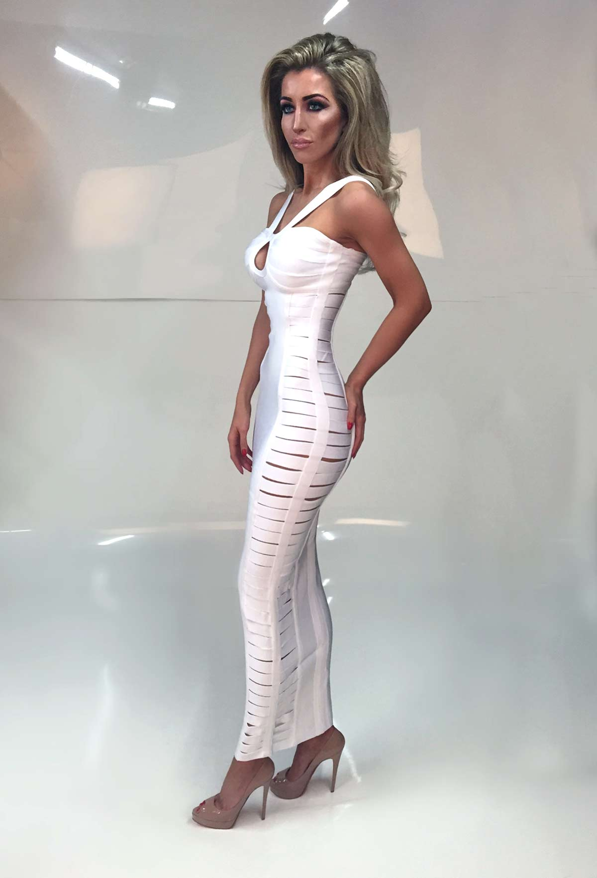 Angela White Cut Out Ankle Length Bandage Dress Miss
